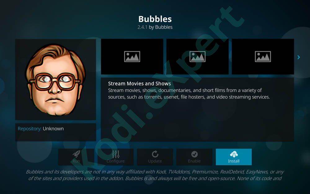 Bubbles addon Kodi step 16