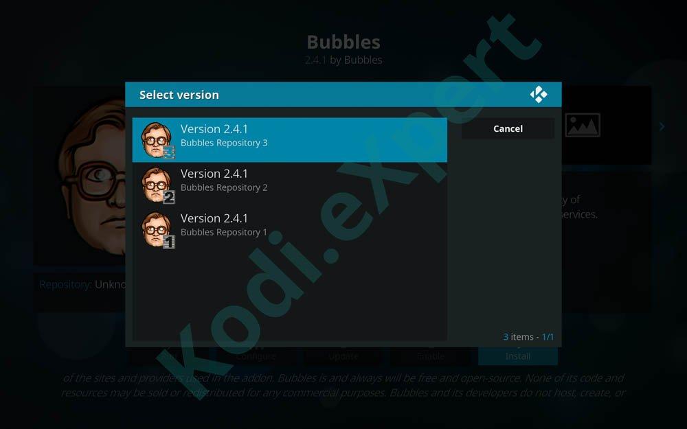 Bubbles addon Kodi step 17