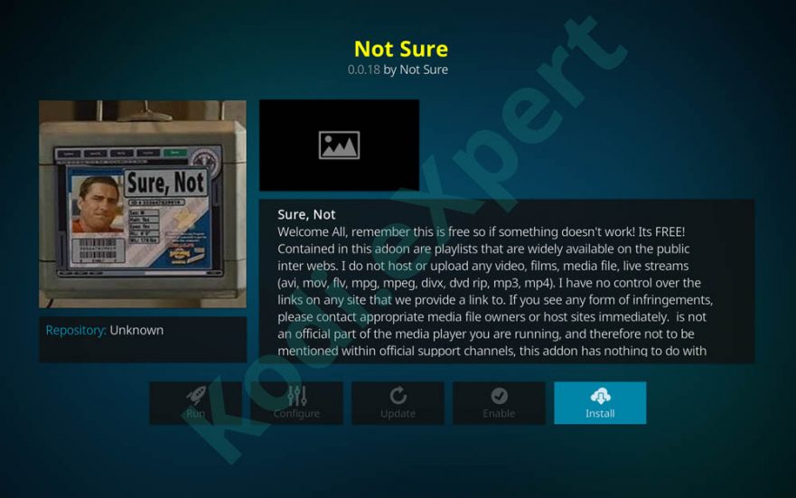 Not Sure -  Kodi addon for Live Sports and TV Streaming